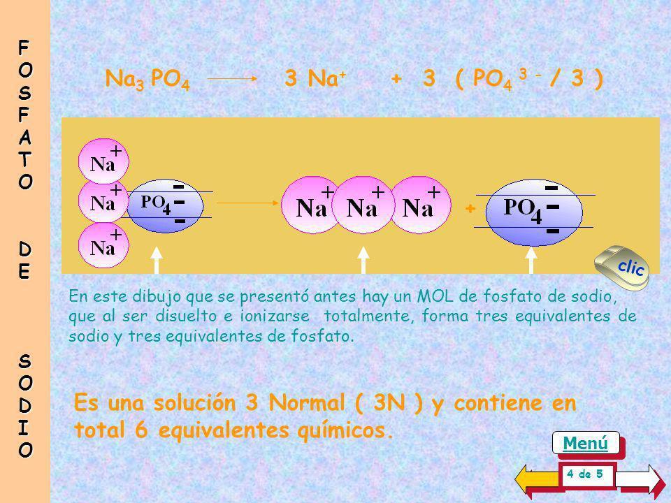 FOSFATO DE. SODIO. Na3 PO4 3 Na+ + 3 ( PO4 3 - / 3 ) + clic.