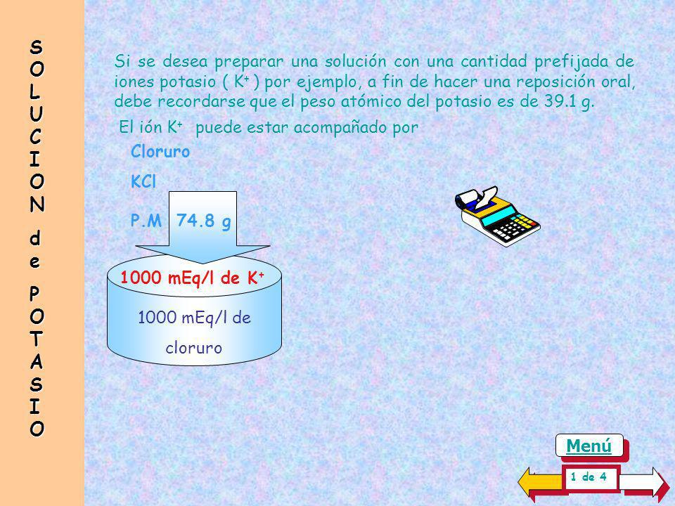 SOLUCION de. POTASIO.