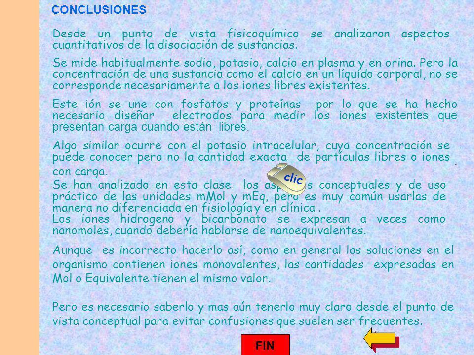 CONCLUSIONES Desde un punto de vista fisicoquímico se analizaron aspectos cuantitativos de la disociación de sustancias.