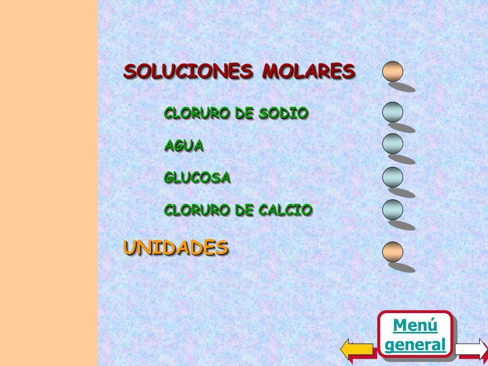 SOLUCIONES MOLARES UNIDADES Menú general CLORURO DE SODIO AGUA GLUCOSA