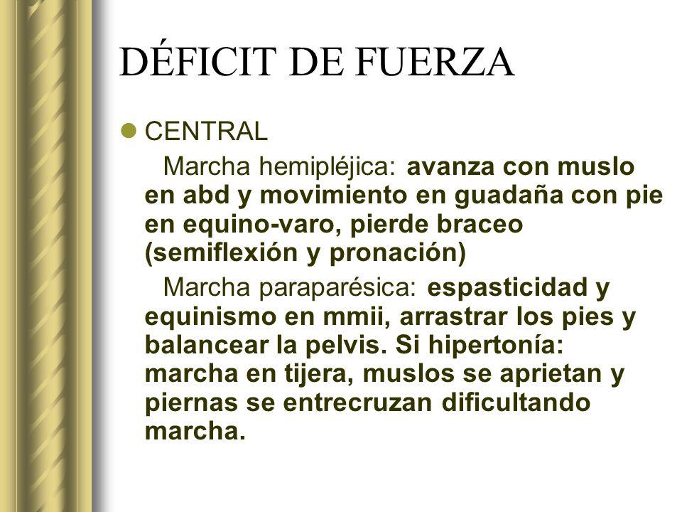 DÉFICIT DE FUERZA CENTRAL