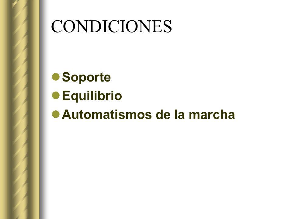 CONDICIONES Soporte Equilibrio Automatismos de la marcha