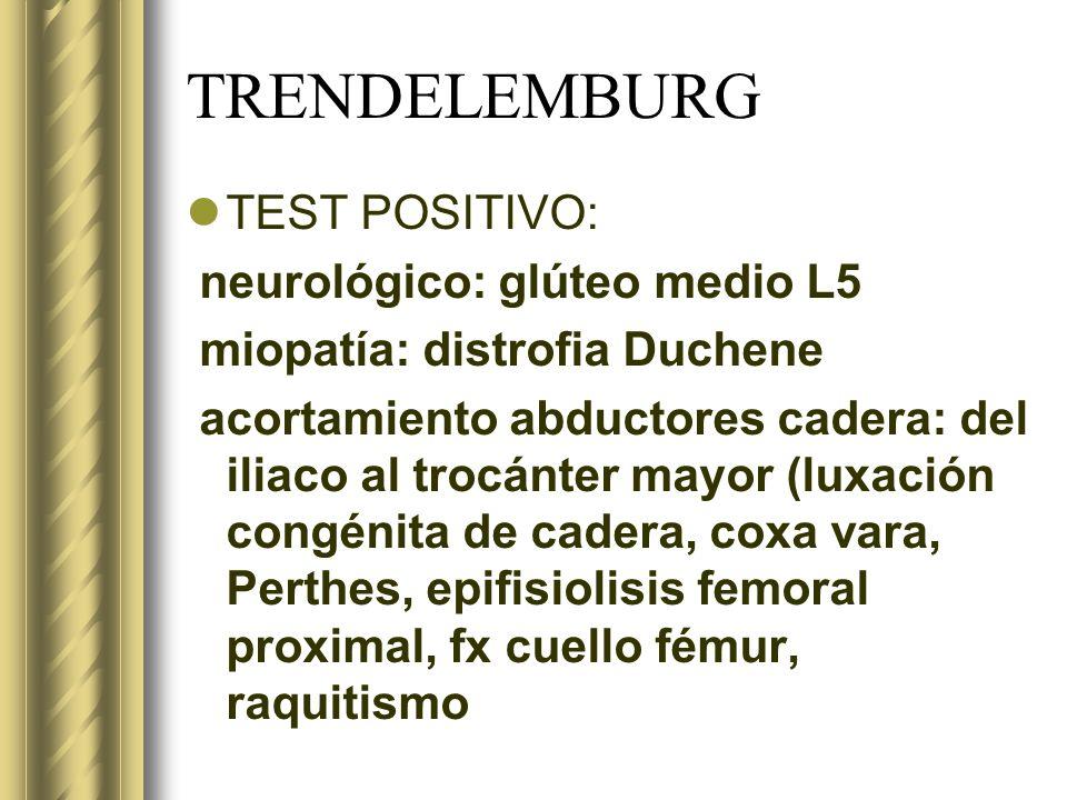 TRENDELEMBURG TEST POSITIVO: neurológico: glúteo medio L5
