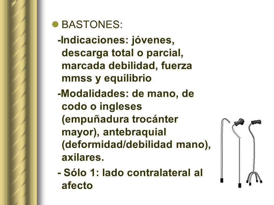 BASTONES: -Indicaciones: jóvenes, descarga total o parcial, marcada debilidad, fuerza mmss y equilibrio.