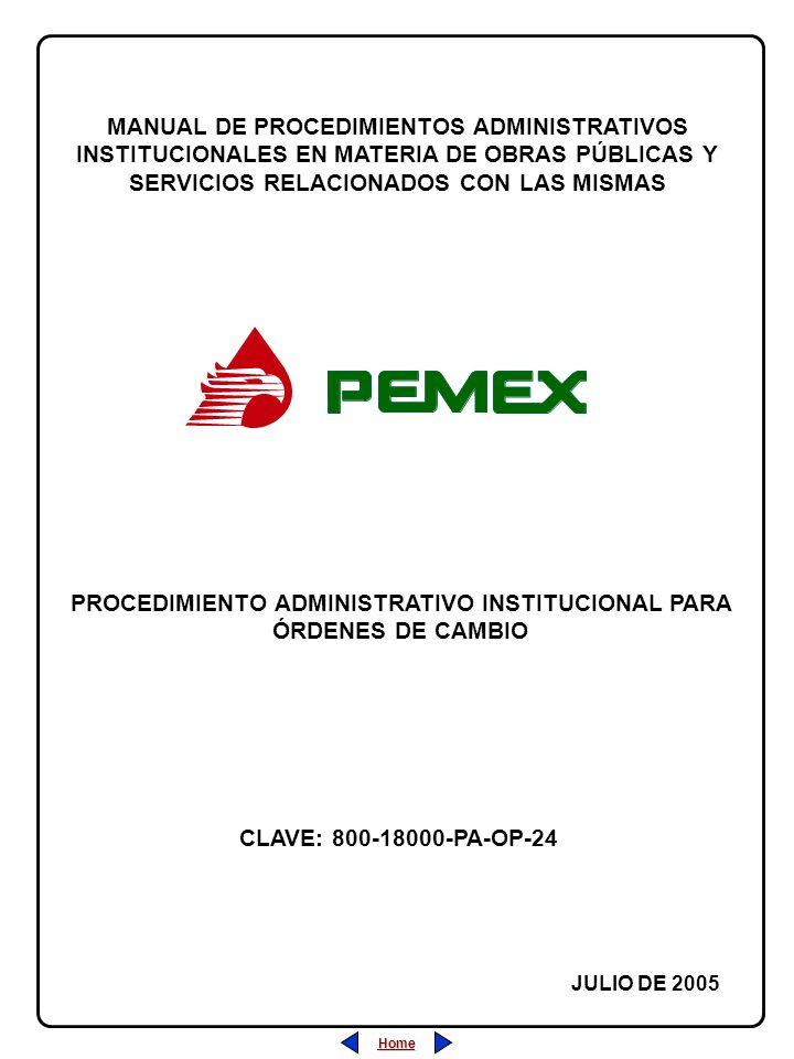PROCEDIMIENTO ADMINISTRATIVO INSTITUCIONAL PARA ÓRDENES DE CAMBIO