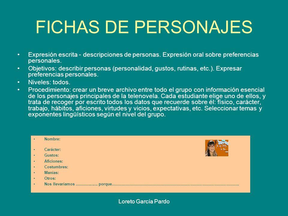 FICHAS DE PERSONAJES Expresión escrita - descripciones de personas. Expresión oral sobre preferencias personales.