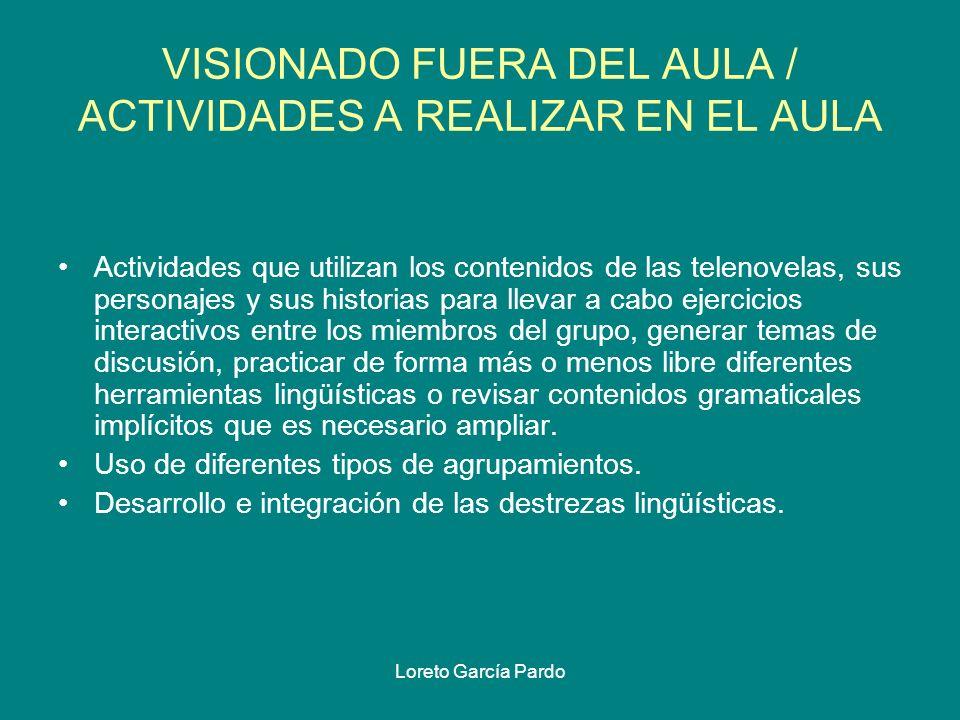 VISIONADO FUERA DEL AULA / ACTIVIDADES A REALIZAR EN EL AULA