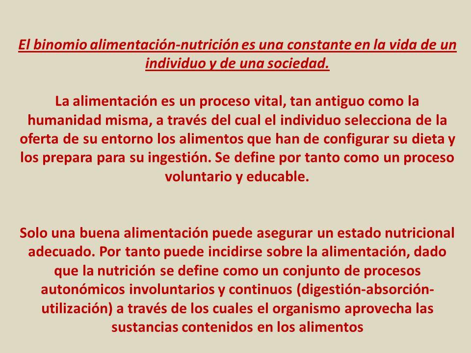 El binomio alimentación-nutrición es una constante en la vida de un individuo y de una sociedad.