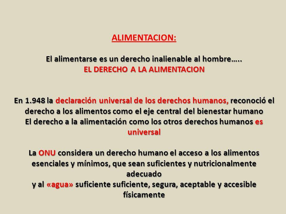 ALIMENTACION: El alimentarse es un derecho inalienable al hombre…