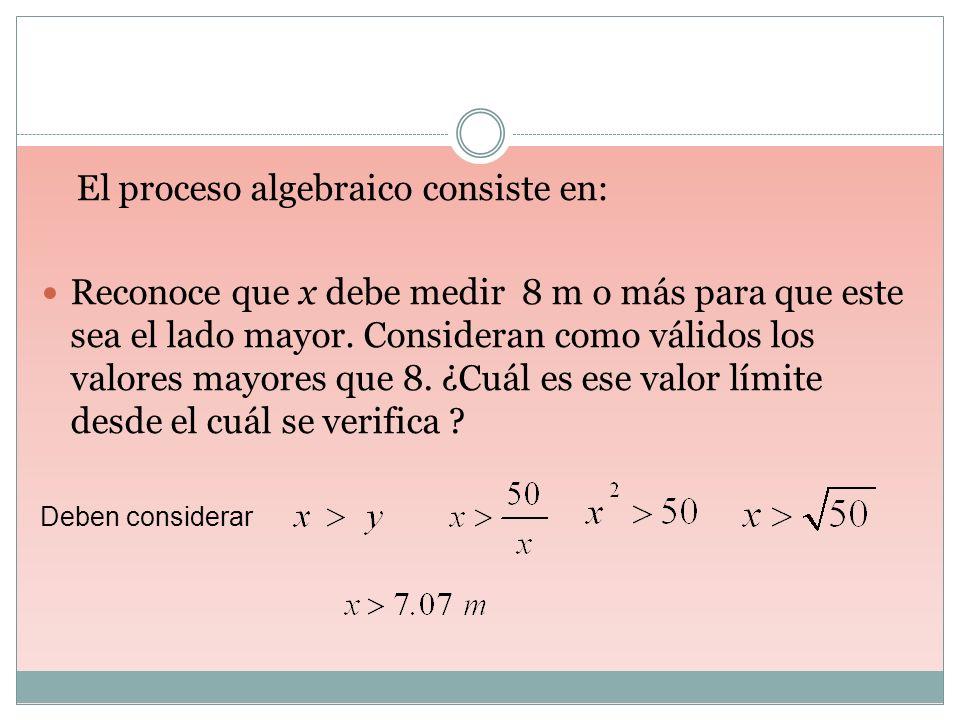 El proceso algebraico consiste en: