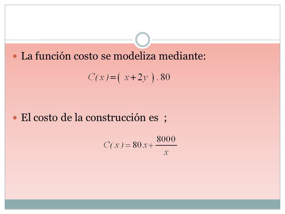 La función costo se modeliza mediante: