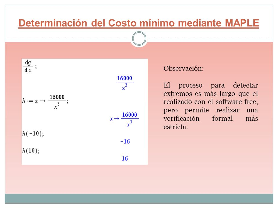 Determinación del Costo mínimo mediante MAPLE