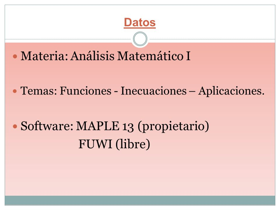 Materia: Análisis Matemático I