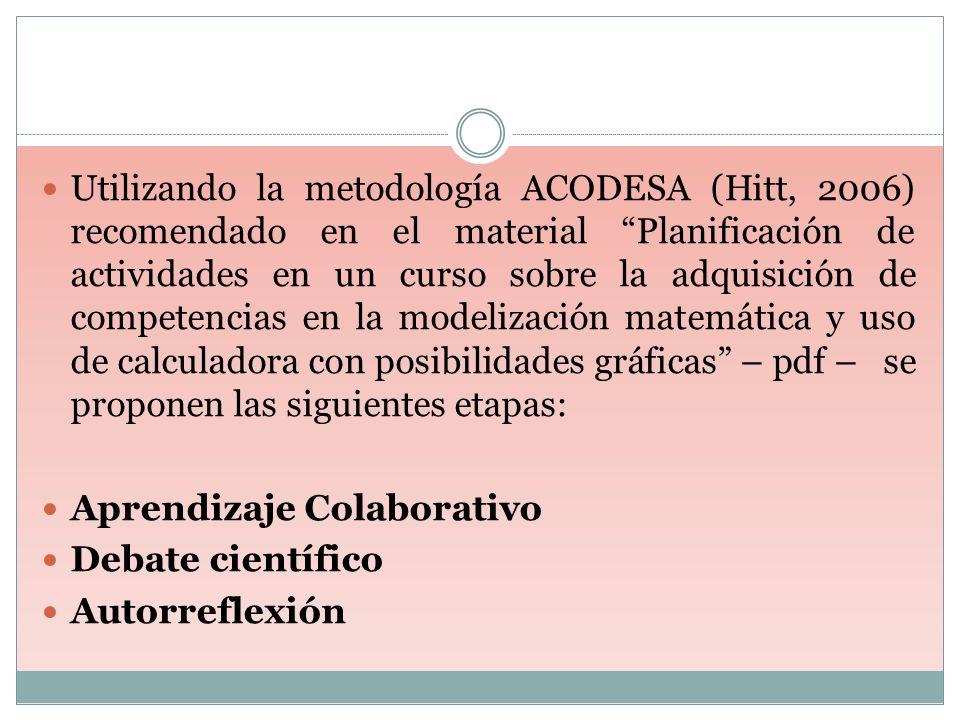Utilizando la metodología ACODESA (Hitt, 2006) recomendado en el material Planificación de actividades en un curso sobre la adquisición de competencias en la modelización matemática y uso de calculadora con posibilidades gráficas – pdf – se proponen las siguientes etapas: