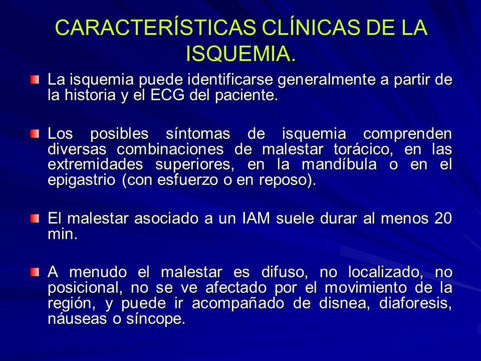 CARACTERÍSTICAS CLÍNICAS DE LA ISQUEMIA.