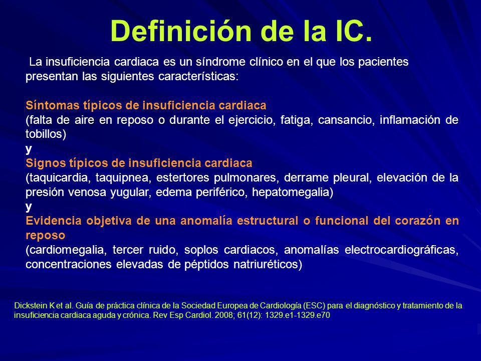 Definición de la IC. La insuficiencia cardiaca es un síndrome clínico en el que los pacientes presentan las siguientes características: