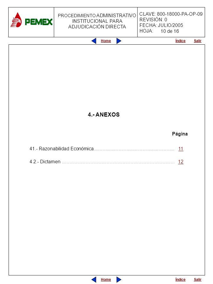 10 de 16 4.- ANEXOS. Página. 41.- Razonabilidad Económica............................................................. 11.