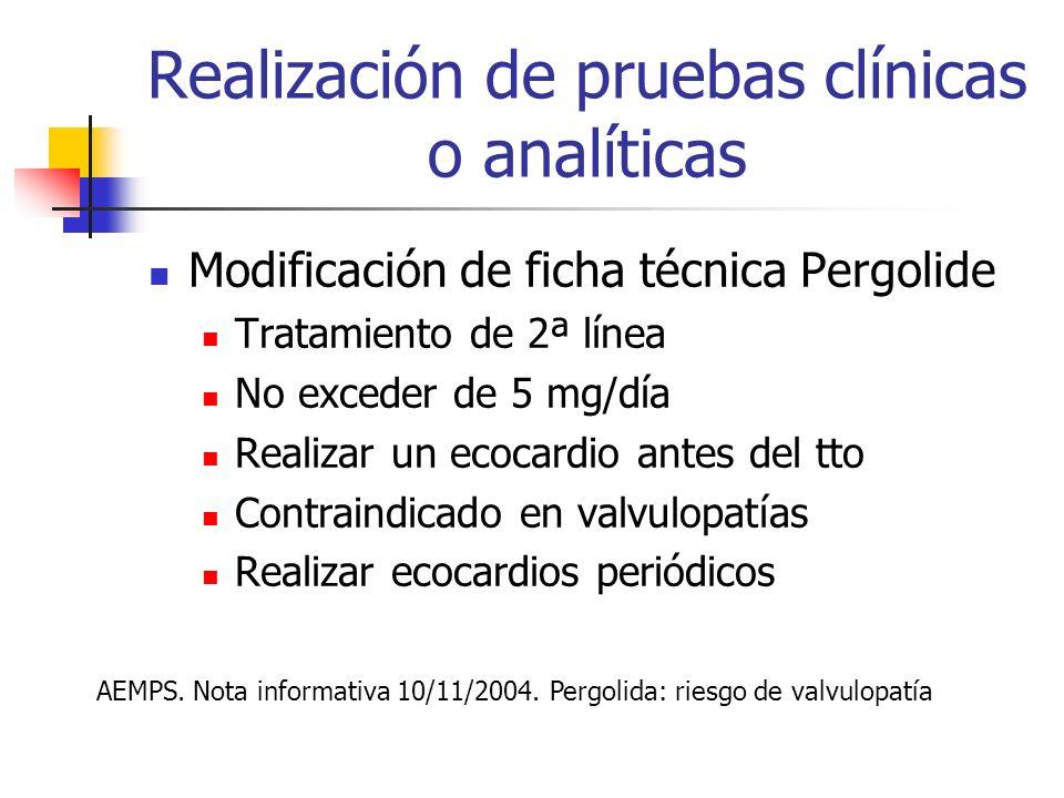 Realización de pruebas clínicas o analíticas