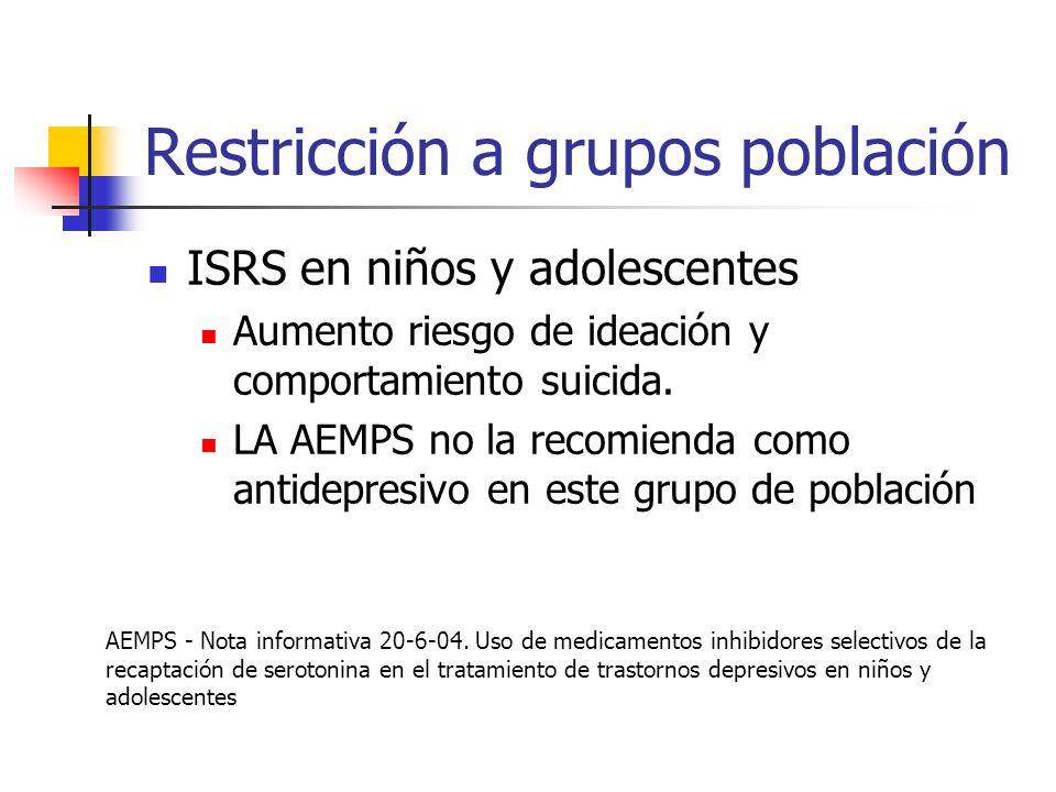 Restricción a grupos población