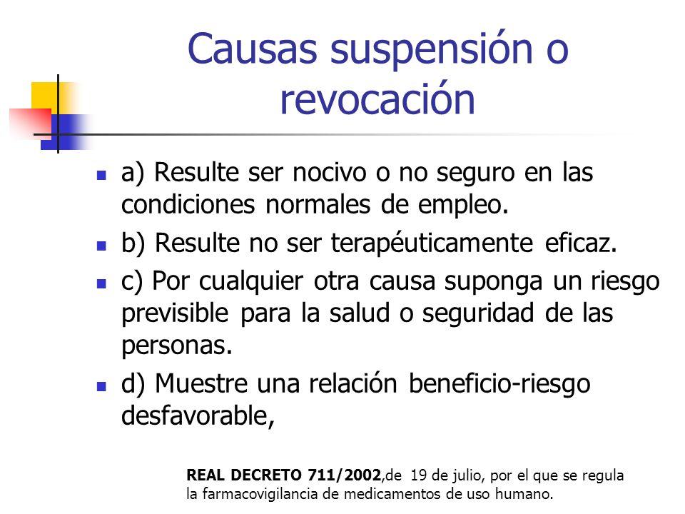 Causas suspensión o revocación