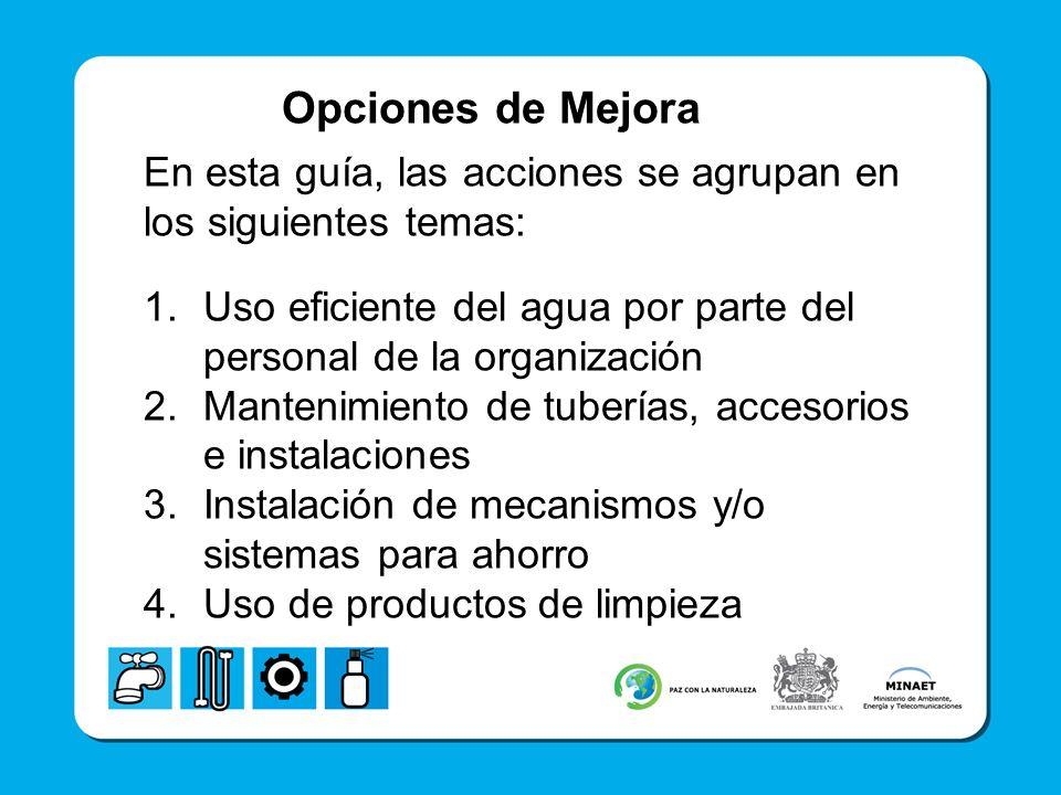 Opciones de Mejora En esta guía, las acciones se agrupan en los siguientes temas: Uso eficiente del agua por parte del personal de la organización.