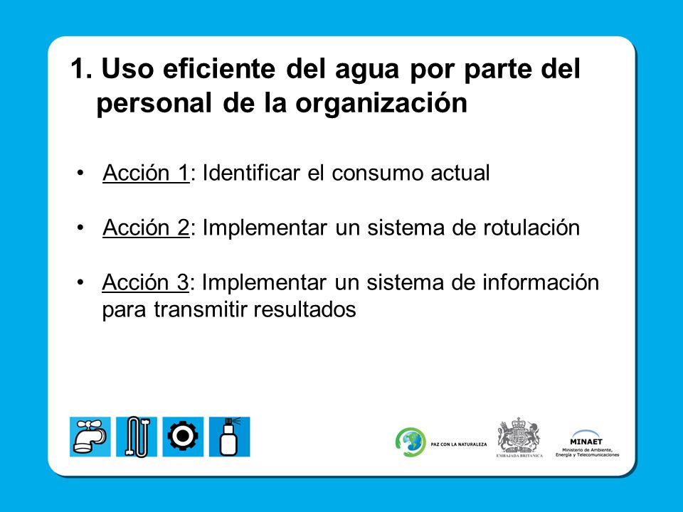 1. Uso eficiente del agua por parte del personal de la organización