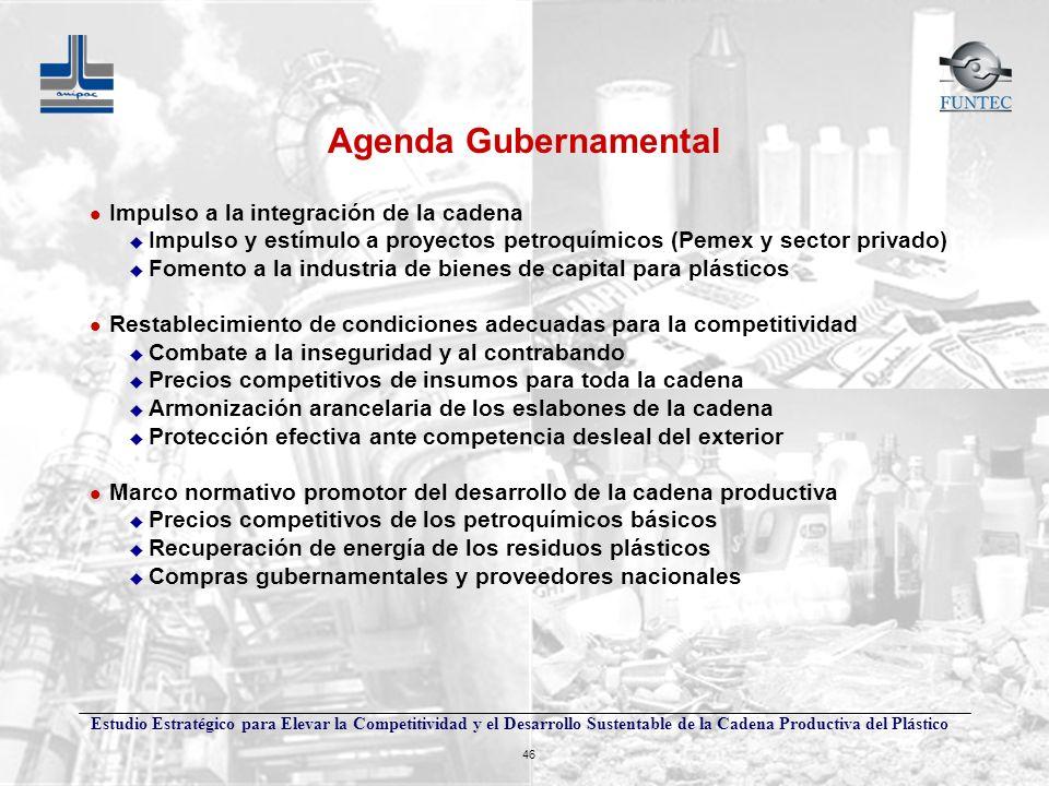 Agenda Gubernamental Impulso a la integración de la cadena