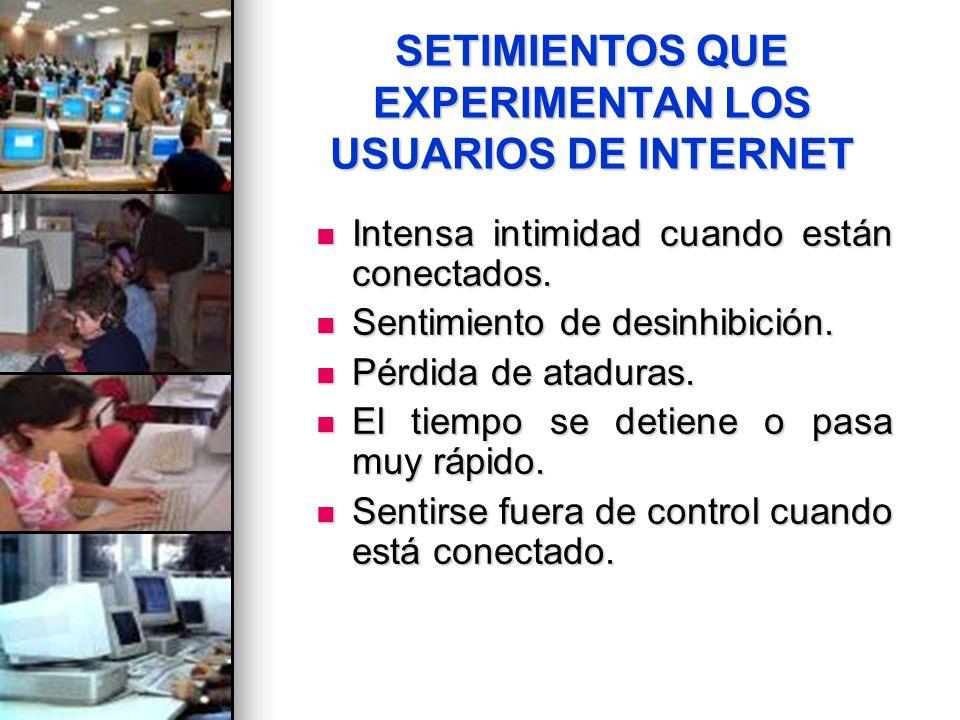 SETIMIENTOS QUE EXPERIMENTAN LOS USUARIOS DE INTERNET