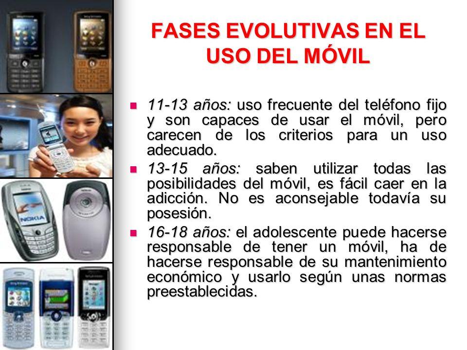 FASES EVOLUTIVAS EN EL USO DEL MÓVIL