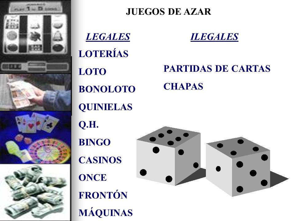 JUEGOS DE AZAR LEGALES. LOTERÍAS. LOTO. BONOLOTO. QUINIELAS. Q.H. BINGO. CASINOS. ONCE. FRONTÓN.