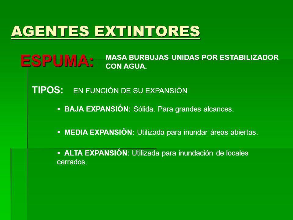 ESPUMA: AGENTES EXTINTORES TIPOS: