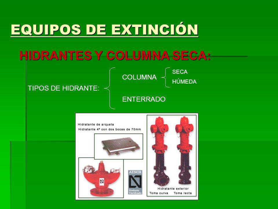 EQUIPOS DE EXTINCIÓN HIDRANTES Y COLUMNA SECA: COLUMNA