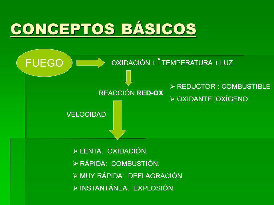 CONCEPTOS BÁSICOS FUEGO OXIDACIÓN + TEMPERATURA + LUZ