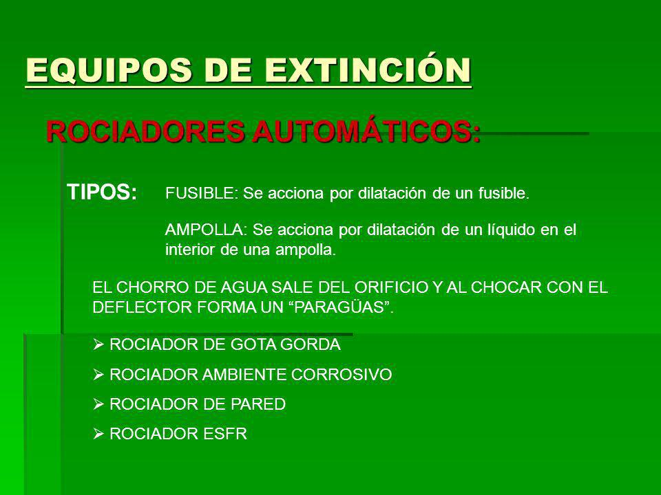 EQUIPOS DE EXTINCIÓN ROCIADORES AUTOMÁTICOS: TIPOS: