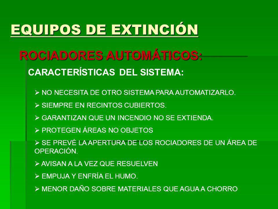 EQUIPOS DE EXTINCIÓN ROCIADORES AUTOMÁTICOS: