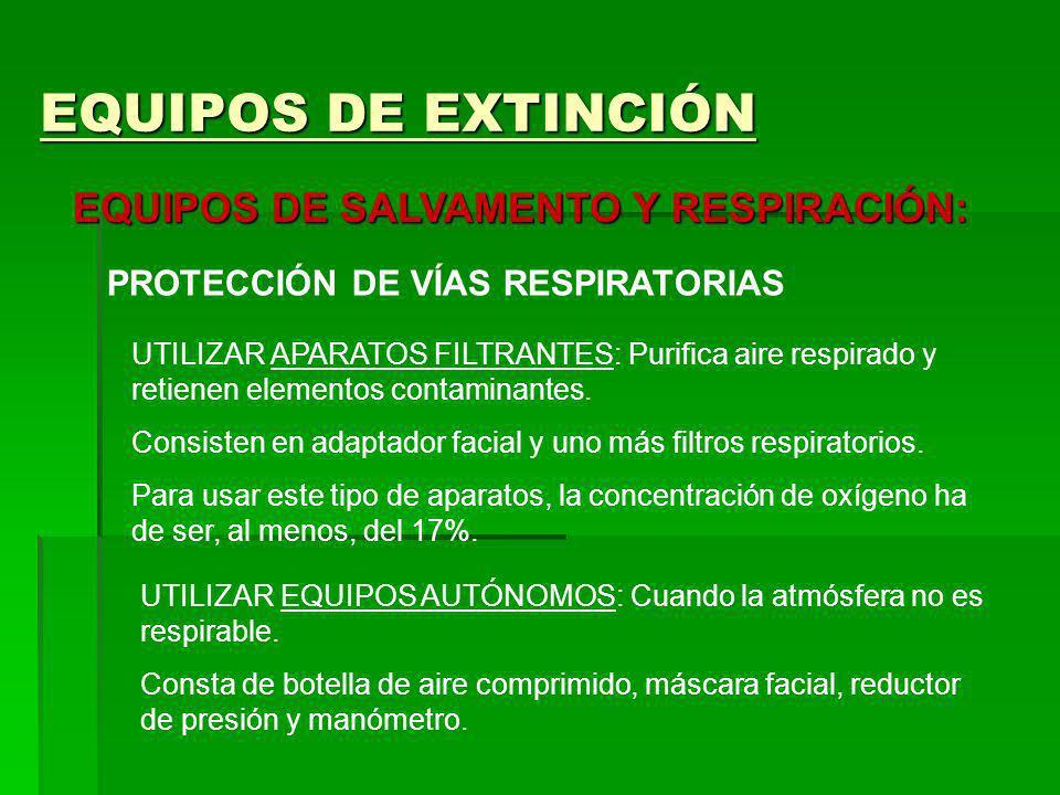 EQUIPOS DE EXTINCIÓN EQUIPOS DE SALVAMENTO Y RESPIRACIÓN: