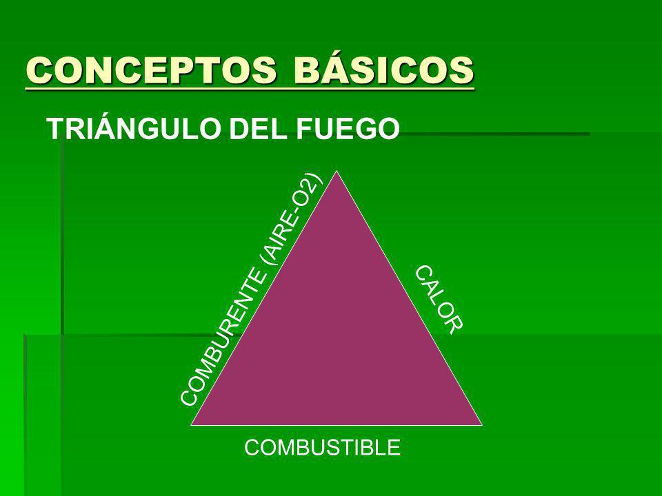 CONCEPTOS BÁSICOS TRIÁNGULO DEL FUEGO COMBURENTE (AIRE-O2) CALOR