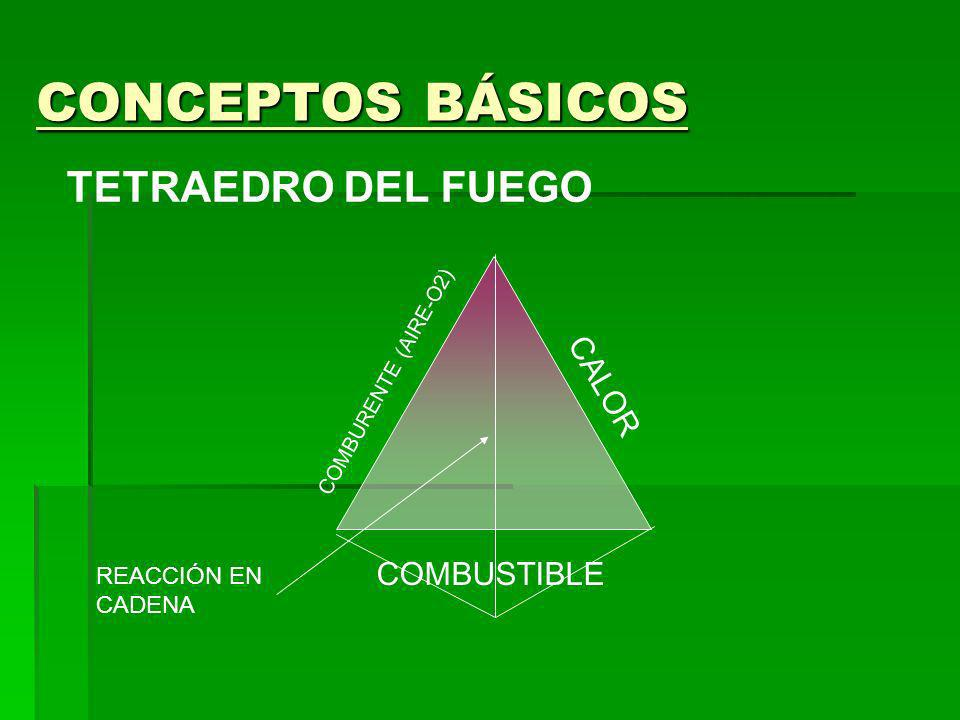 CONCEPTOS BÁSICOS TETRAEDRO DEL FUEGO CALOR COMBUSTIBLE