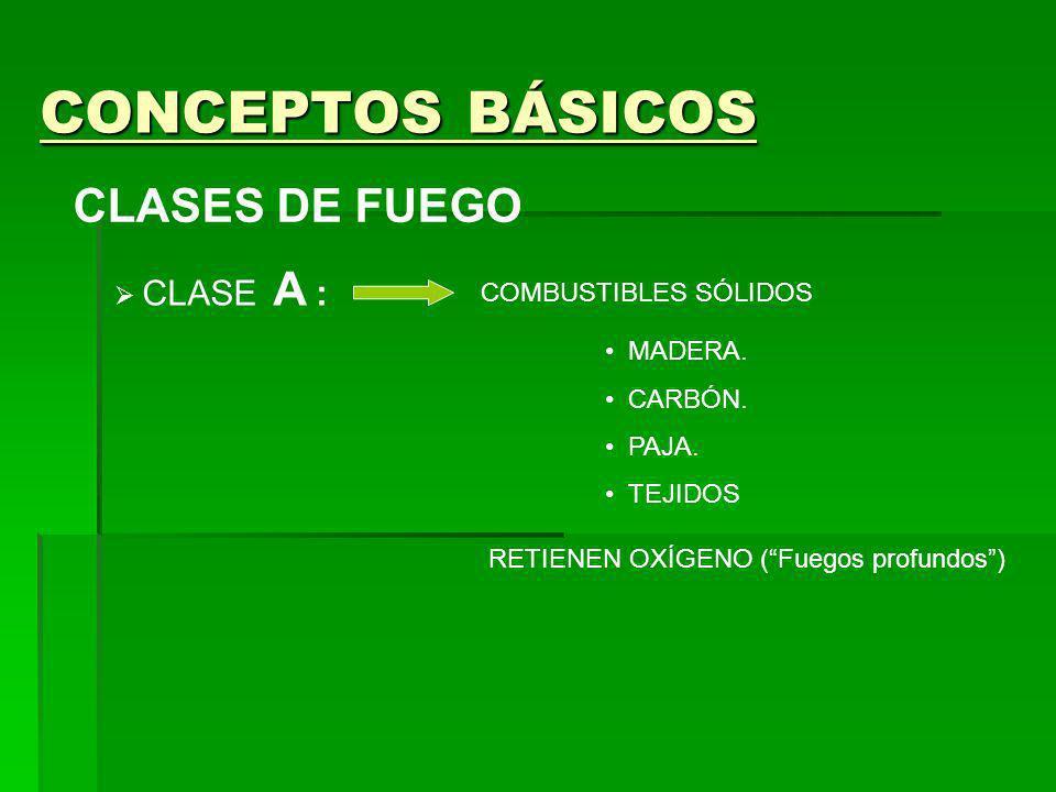 CONCEPTOS BÁSICOS CLASES DE FUEGO CLASE A : COMBUSTIBLES SÓLIDOS