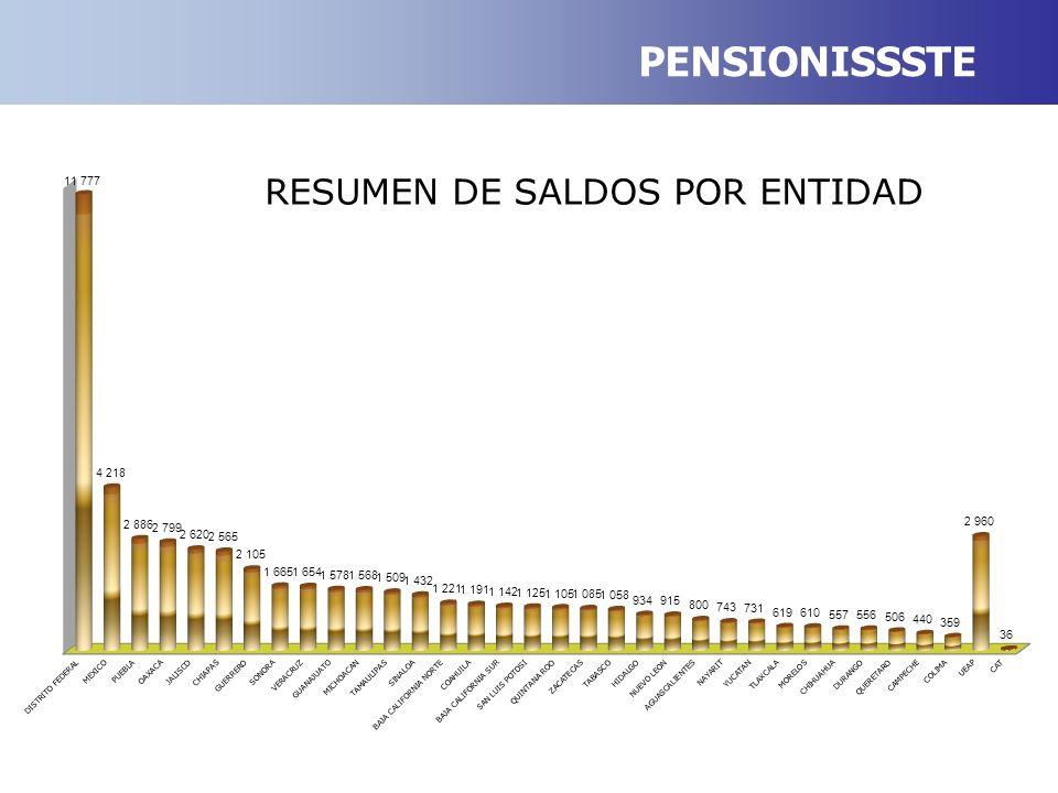 PENSIONISSSTE RESUMEN DE SALDOS POR ENTIDAD