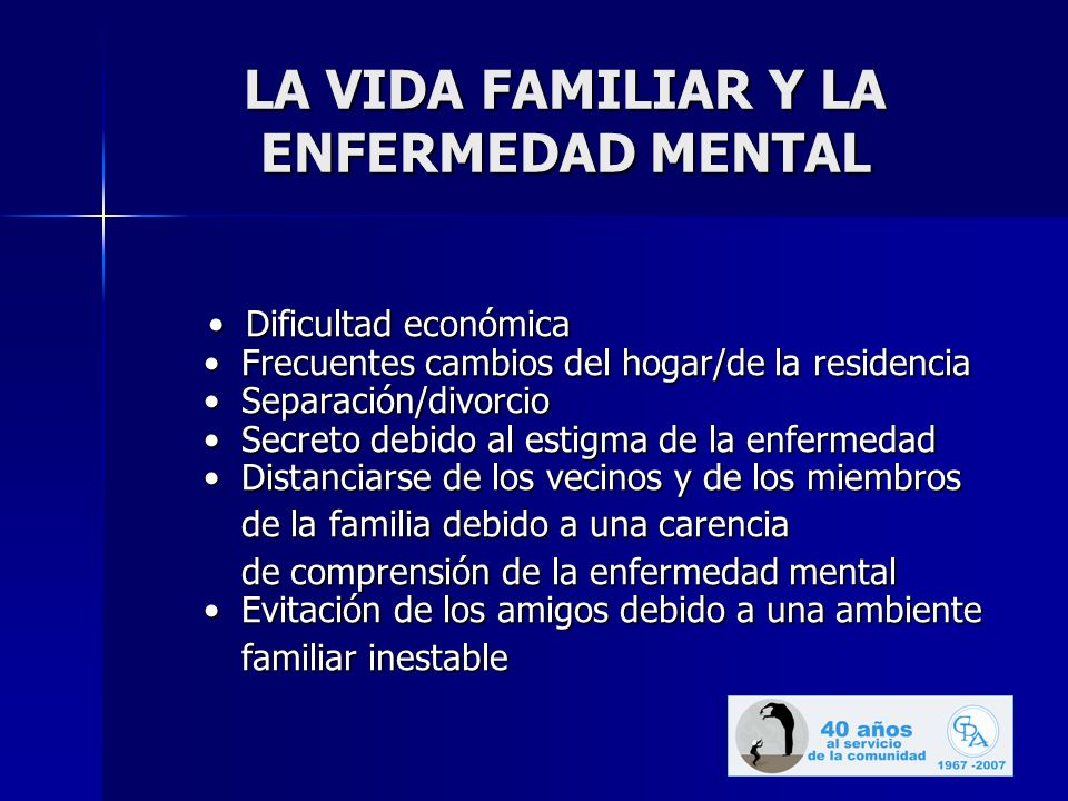 LA VIDA FAMILIAR Y LA ENFERMEDAD MENTAL