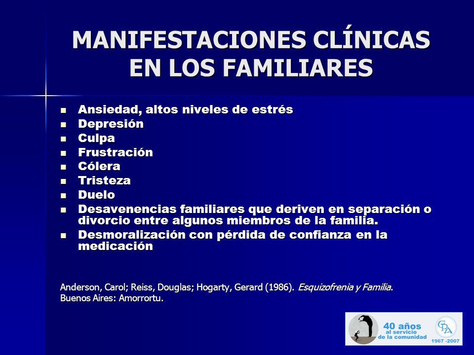 MANIFESTACIONES CLÍNICAS EN LOS FAMILIARES