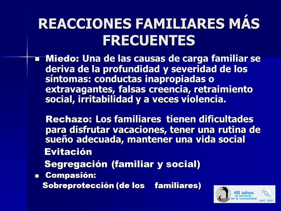 REACCIONES FAMILIARES MÁS FRECUENTES