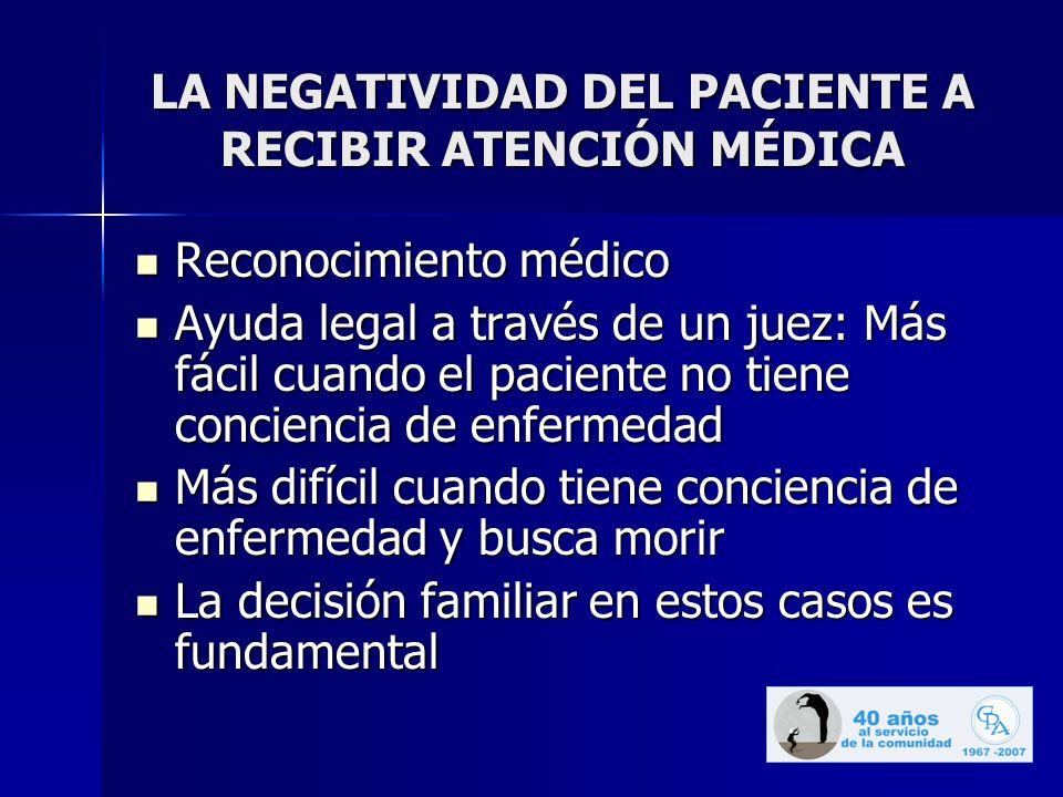 LA NEGATIVIDAD DEL PACIENTE A RECIBIR ATENCIÓN MÉDICA