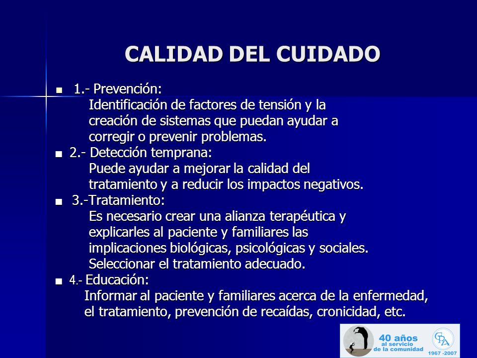 CALIDAD DEL CUIDADO 1.- Prevención: