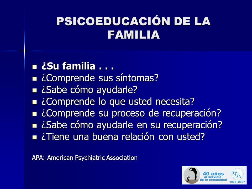 PSICOEDUCACIÓN DE LA FAMILIA