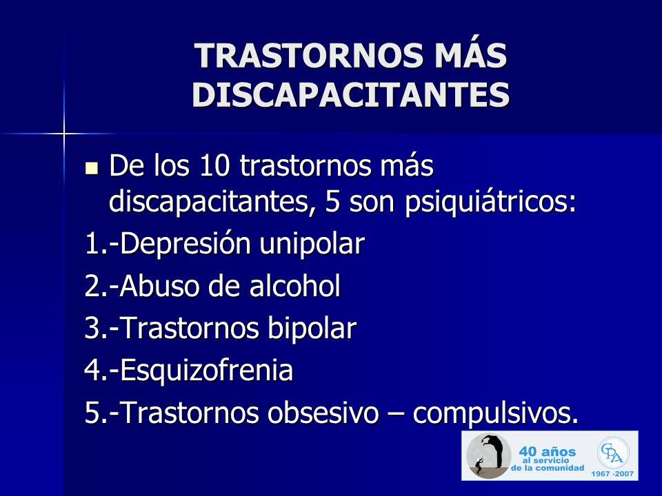 TRASTORNOS MÁS DISCAPACITANTES