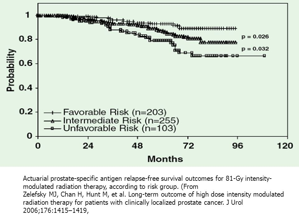 Actuarial prostate-specific antigen relapse-free survival outcomes for 81-Gy intensity-modulated radiation therapy, according to risk group. (From