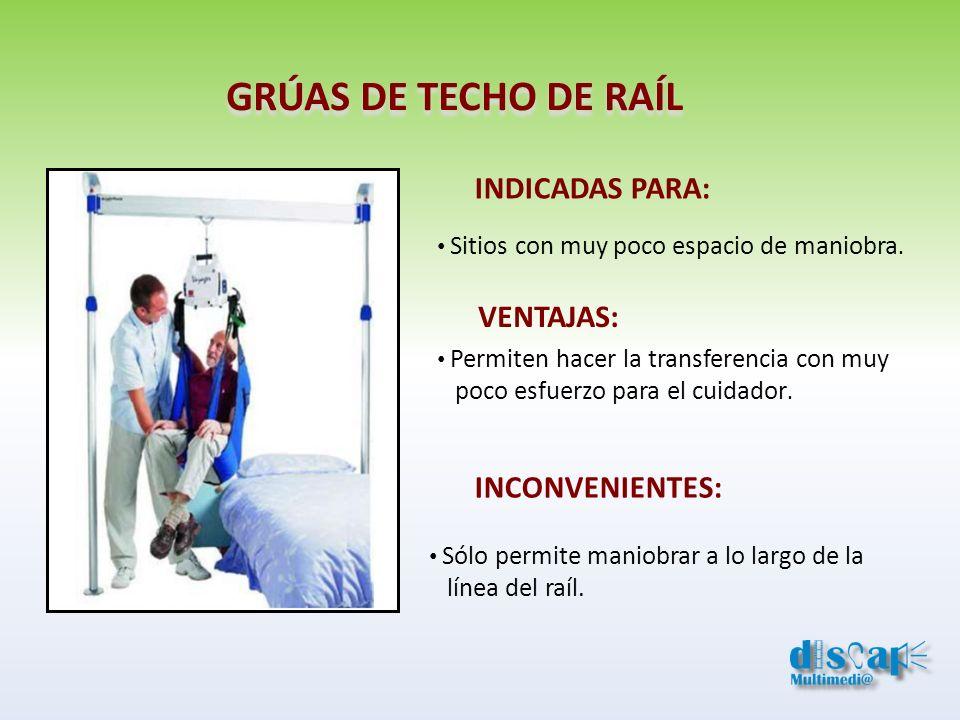 GRÚAS DE TECHO DE RAÍL INDICADAS PARA: VENTAJAS: INCONVENIENTES: