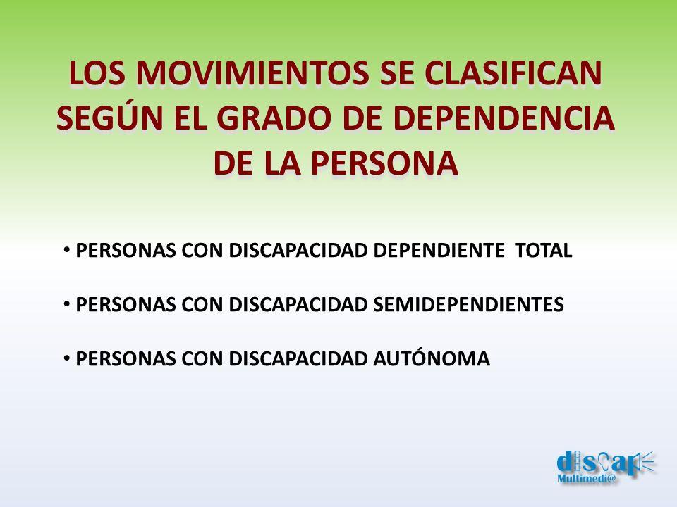 LOS MOVIMIENTOS SE CLASIFICAN SEGÚN EL GRADO DE DEPENDENCIA DE LA PERSONA